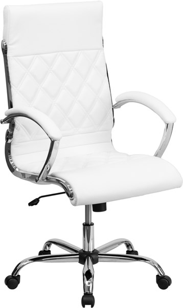 High Back Designer White Leather Executive Swivel Office Chair FLF-GO-1297H-HIGH-WHITE-GG