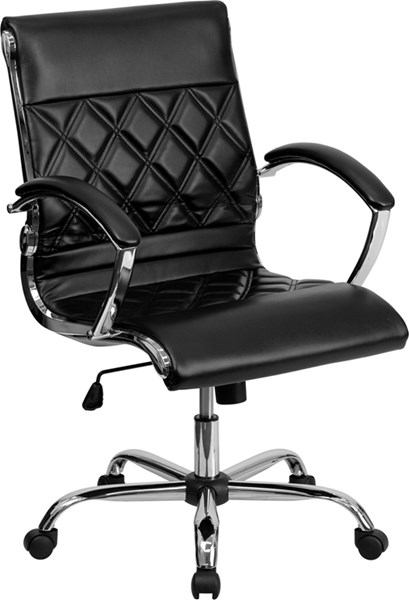 Mid-Back Designer Leather Executive Swivel Office Chair FLF-GO-1297M-MID-GG-OFF-CH-VAR