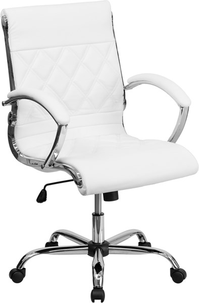 Flash Furniture Mid Back Designer White Leather Executive Swivel Office Chair FLF-GO-1297M-MID-WHITE-GG