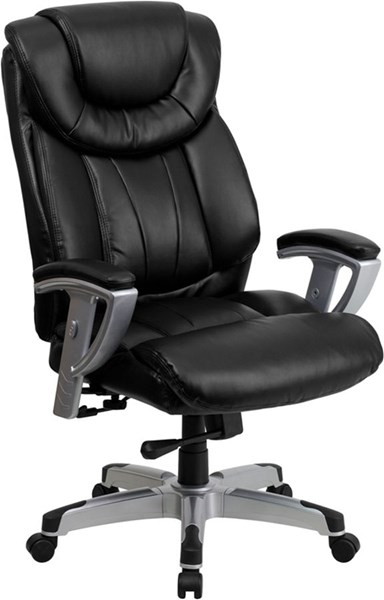 Flash Furniture Hercules Big and Tall Black Leather Office Chair with Arms FLF-GO-1534-BK-LEA-GG