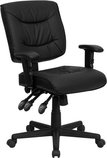 Flash Furniture Black Leather Task Chair with Arms FLF-GO-1574-BK-A-GG