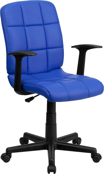 Mid-Back Blue Quilted Vinyl Swivel Task Chair with Nylon Arms FLF-GO-1691-1-BLUE-A-GG