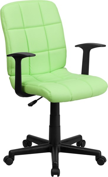 Flash Furniture Green Quilted Vinyl Swivel Task Chair with Nylon Arms FLF-GO-1691-1-GREEN-A-GG