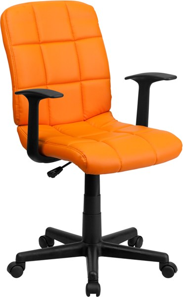 Flash Furniture Orange Quilted Vinyl Swivel Task Chair with Nylon Arms FLF-GO-1691-1-ORG-A-GG