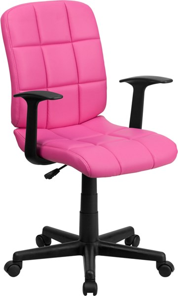 Flash Furniture Quilted Vinyl Swivel Task Chair with Nylon Arms FLF-GO-1691-1-A-GG-OFF-CH-VAR