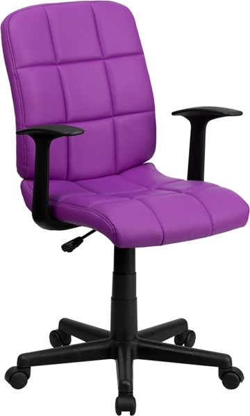 Flash Furniture Purple Quilted Vinyl Swivel Task Chair with Nylon Arms FLF-GO-1691-1-PUR-A-GG