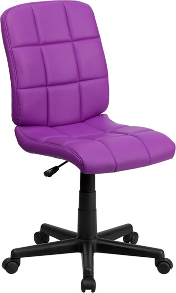 Flash Furniture Mid Back Purple Quilted Vinyl Swivel Task Chair FLF-GO-1691-1-PUR-GG