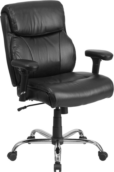 Flash Furniture Hercules Black Chrome Leather Swivel Task Chair FLF-GO-2031-LEA-GG