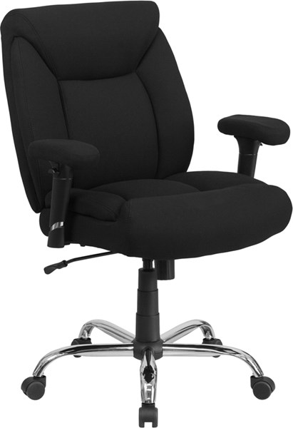 Flash Furniture Hercules Black Chrome Fabric Metal Swivel Task Chair FLF-GO-2073F-GG