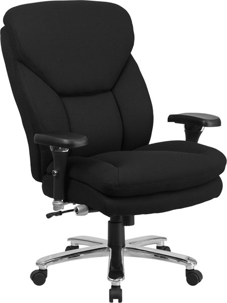 Hercules Contemporary Black Chrome Fabric Metal Plastic Swivel Chair FLF-GO-2085-GG