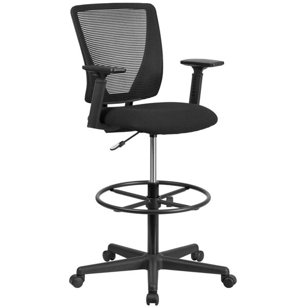 Flash Furniture Black Fabric Mesh Drafting Chair with Arms FLF-GO-2100-A-GG