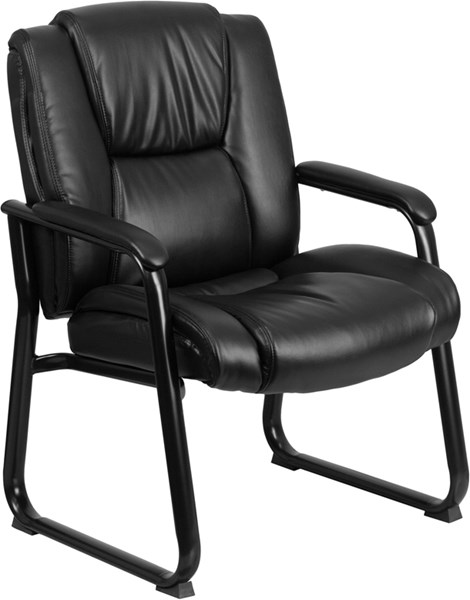 Flash Furniture Hercules Black Leather Executive Sled Side Chair FLF-GO-2138-GG