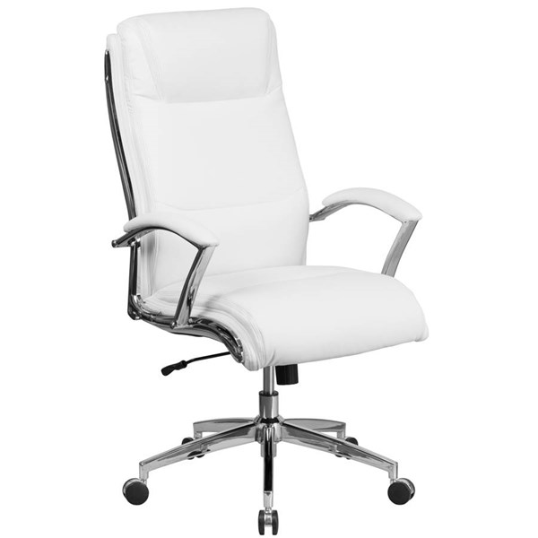 Flash Furniture White Leather Executive Swivel Chair with Arms FLF-GO-2192-WH-GG