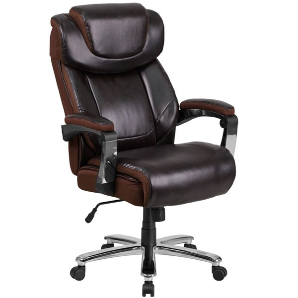 Flash Furniture Hercules Brown Executive Swivel Chair with Adjustable Headrest FLF-GO-2223-BN-GG