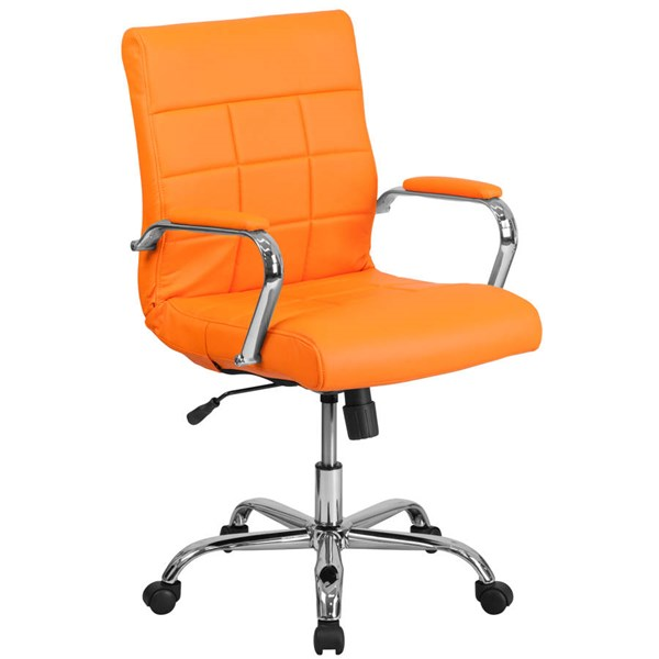 Flash Furniture Orange Vinyl Executive Swivel Chair with Chrome Base FLF-GO-2240-ORG-GG