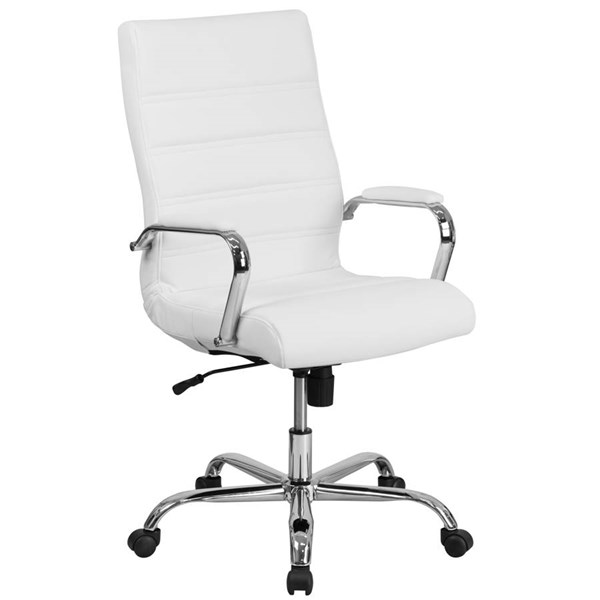 Flash Furniture White Leather Executive Swivel Chair with Chrome Base FLF-GO-2286H-WH-GG