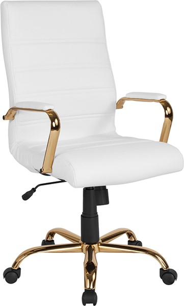 Flash Furniture White Gold High Back Chair FLF-GO-2286H-WH-GLD-GG