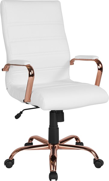 Flash Furniture White Rose Gold High Back Chair FLF-GO-2286H-WH-RSGLD-GG