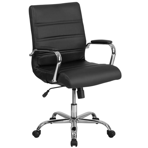 Flash Furniture Mid Back Black Leather Executive Swivel Chair with Chrome Base FLF-GO-2286M-BK-GG