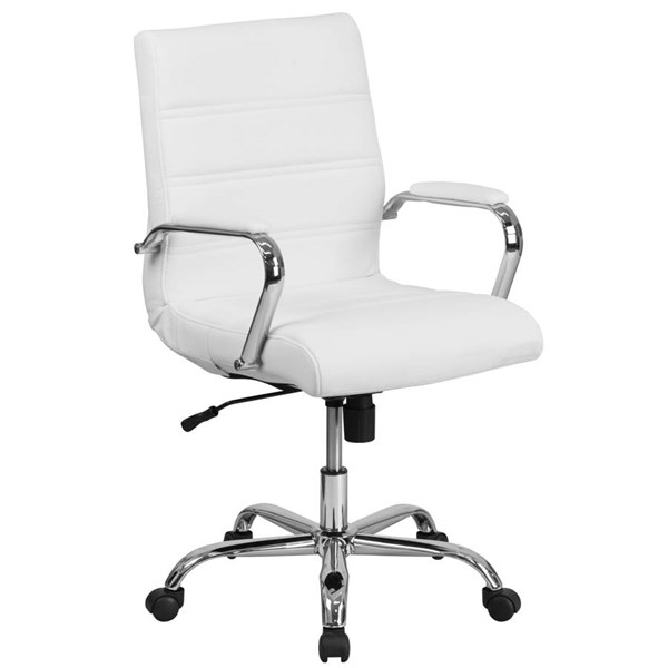 Flash Furniture Mid Back White Leather Executive Swivel Chair with Chrome Base FLF-GO-2286M-WH-GG