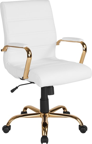 Flash Furniture White Gold Mid Back Chair FLF-GO-2286M-WH-GLD-GG