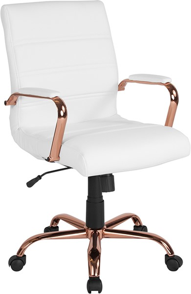 Flash Furniture White Rose Gold Mid Back Chair FLF-GO-2286M-WH-RSGLD-GG