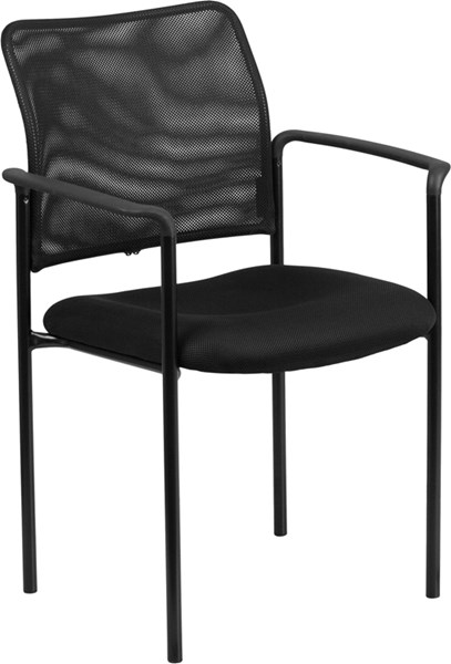 Black Mesh Comfortable Stackable Steel Side Chair with Arms FLF-GO-516-2-GG