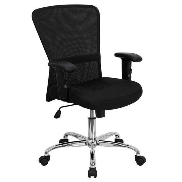 Flash Furniture Mid Back Black Mesh Computer Chair with Arms FLF-GO-5307B-GG