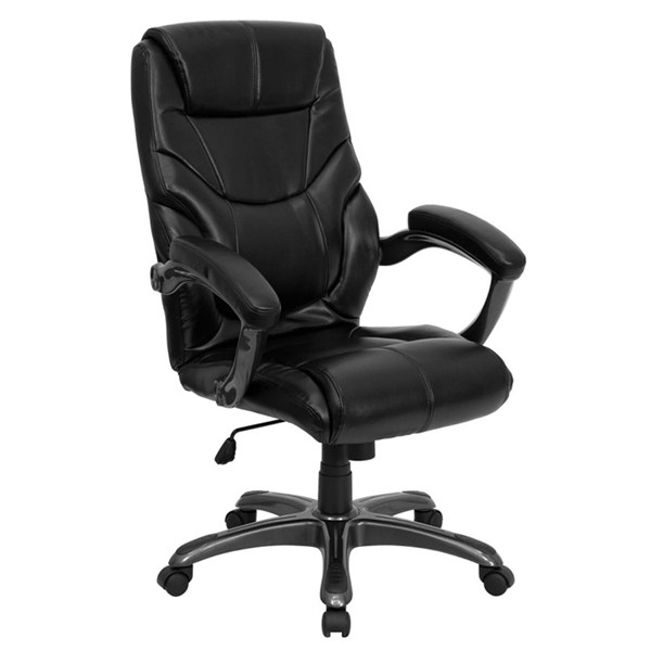 Black Leather Metal Plastic High Back Office Chair FLF-GO-724H-BK-LEA-GG