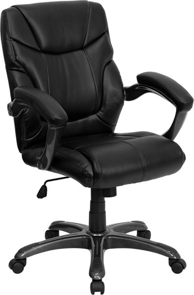 Flash Furniture Mid Back Black Leather Overstuffed Office Chair FLF-GO-724M-MID-BK-LEA-GG