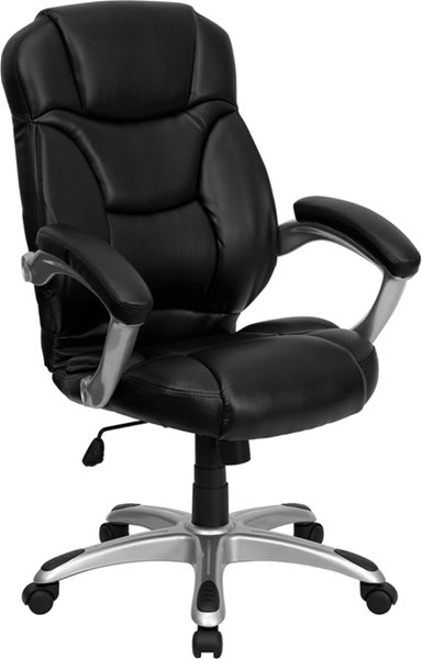 Contemporary Black Silver Leather Metal High Back Office Chair FLF-GO-725-BK-LEA-GG