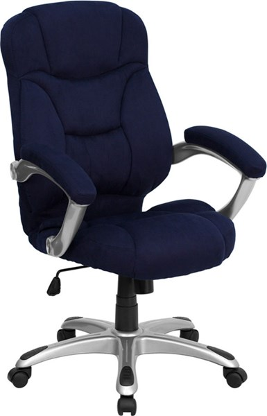 High Back Navy Blue Microfiber Upholstered Contemporary Office Chair FLF-GO-725-NVY-GG
