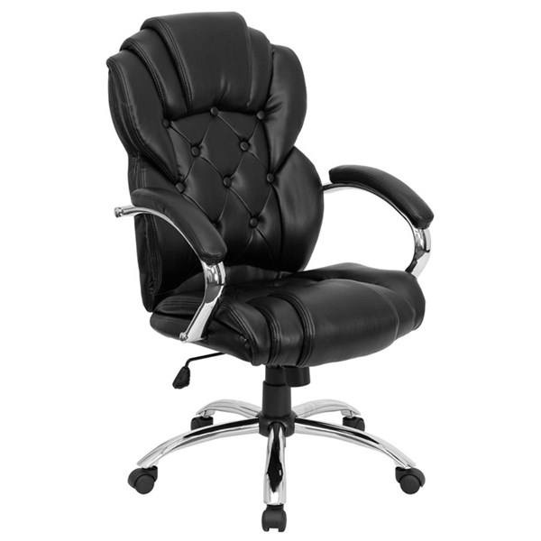 High Back Transitional Style Black Leather Executive Office Chair FLF-GO-908A-BK-GG
