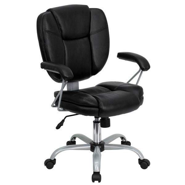 Flash Furniture Mid Back Black Leather Task and Computer Chair FLF-GO-930-BK-GG