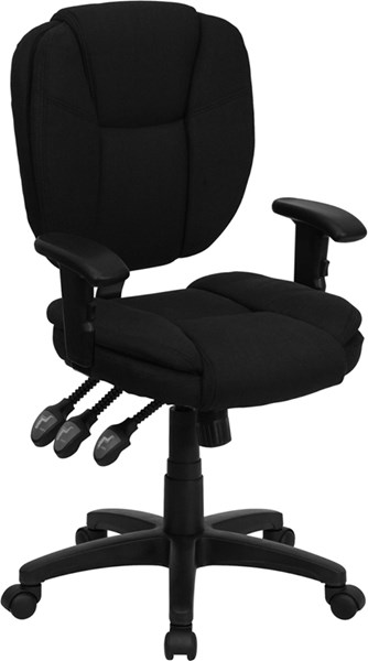 Flash Furniture Mid Back Fabric Ergonomic Task Chairs with Arms FLF-GO-930F-ARMS-GG-VAR