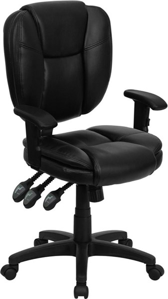 Flash Furniture Mid Back Black Leather Ergonomic Task Chairs FLF-GO-930F-BK-LEA-GG-VAR