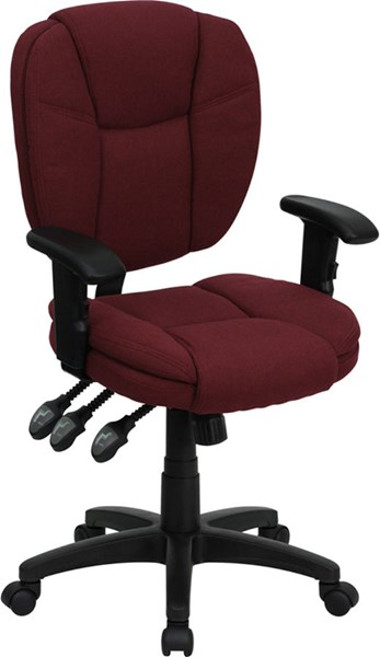 Flash Furniture Mid Back Burgundy Fabric Ergonomic Task Chair with Arms FLF-GO-930F-BY-ARMS-GG