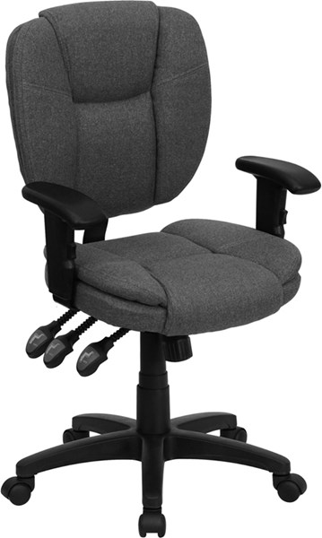 Flash Furniture Mid Back Gray Fabric Ergonomic Task Chair with Arms FLF-GO-930F-GY-ARMS-GG