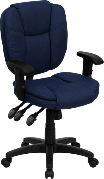 Flash Furniture Mid Back Navy Blue Fabric Ergonomic Task Chair with Arms FLF-GO-930F-NVY-ARMS-GG