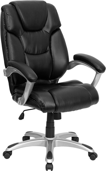 Flash Furniture Black Silver Leather High Back Office Chair with Arms FLF-GO-931H-BK-GG