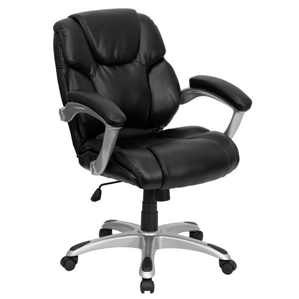 Mid-Back Black Leather Office Task Chair FLF-GO-931H-MID-BK-GG