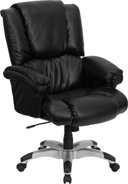Flash Furniture Black Silver Leather Metal Plastic High Back Office Chair FLF-GO-958-BK-GG