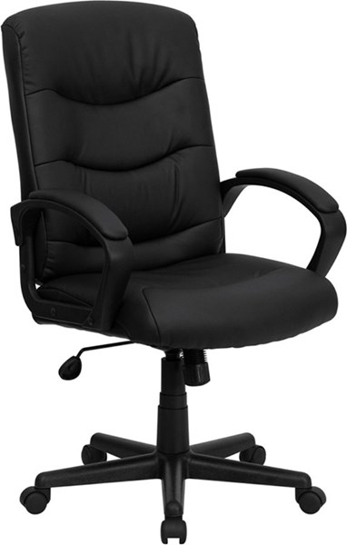 Flash Furniture Black Metal Plastic Leather Mid Back Office Chair FLF-GO-977-1-BK-LEA-GG