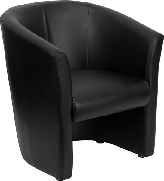 Contemporary Black Leather Metal Barrel Shaped Guest Chair FLF-GO-S-01-BK-QTR-GG