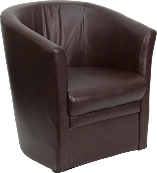 Contemporary Brown Leather Metal Barrel Shaped Guest Chair FLF-GO-S-01A-BN-FULL-GG