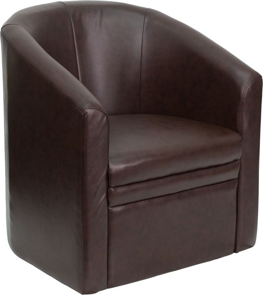 Flash Furniture Brown Leather Wood Barrel Shaped Guest Chair FLF-GO-S-03-BN-FULL-GG