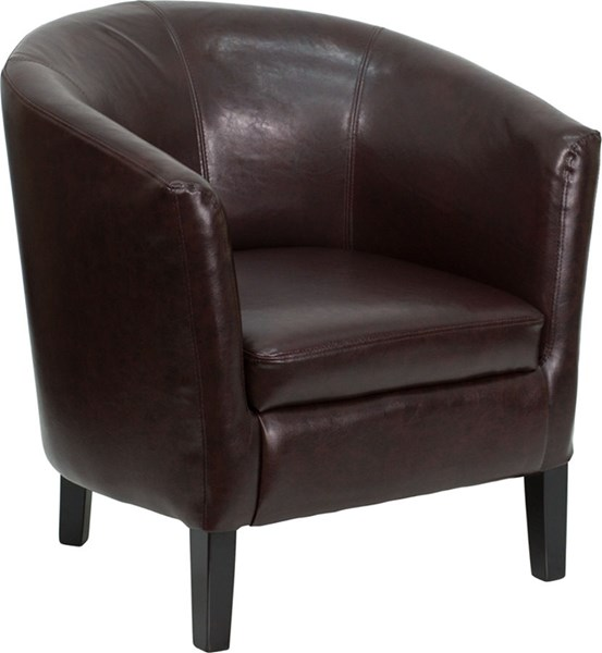 Executive Brown Foam Leather Wood Barrel Shaped Guest Chair FLF-GO-S-11-BN-BARREL-GG