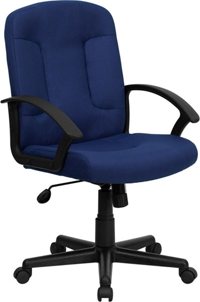 Mid-Back Navy Fabric Task & Computer Chair w/Nylon Arms FLF-GO-ST-6-NVY-GG