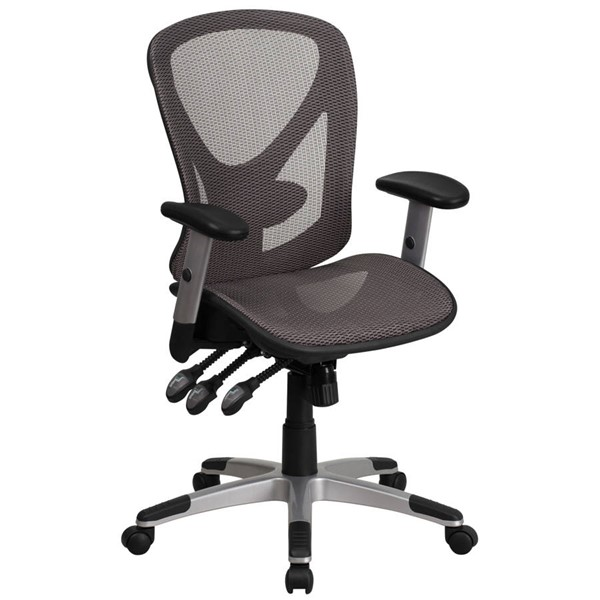 Flash Furniture Gray Mesh Multifunction Executive Swivel Chair with Adjustable Arms FLF-GO-WY-136-3-GG