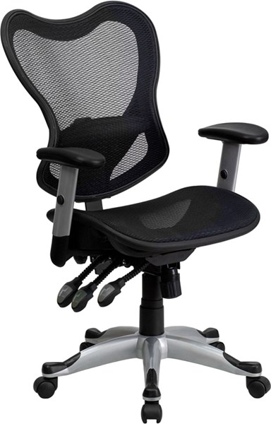 Mid-Back Black Mesh Three Paddle Control Executive Swivel Office Chair FLF-GO-WY-55-GG